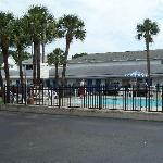 Pool, North Side of Motel & Parking Lot
