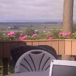 sitting at our table, in our part of the deck, looking nw toward Anacortes and the Tulip Fields