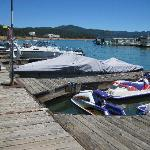 Our rented boat slips at the marina