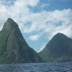 The Pitons view from boat