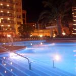 pool area in evening