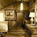 The loft features antique furnishings, Pendleton fabrics and tribal rugs.