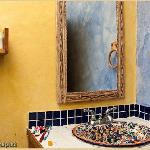 The much-vaunted talavera sink in an otherwise spare but perfectly acceptable bathroom [9087]