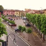  The piazza on a rainy day.