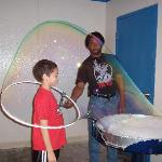 Our son (inside the bubble) and my husband
