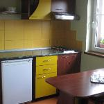The kitchenette in the apartment at the hotel