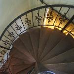  The spiral staircase that leads you to the apartment,