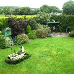 View from guest room of gardens and farmland