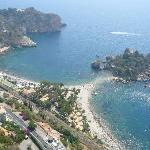 View to the resort and Isola Bella from Taormina