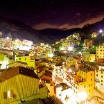 The town of Riomaggiore at night from The Marco Polo Suite.
