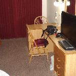  Desk and large flat screen TV