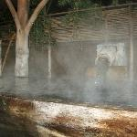 A glimpse of the outdoor hot spring bath