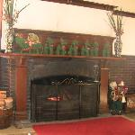 The fireplace in the lounge where we enjoyed many a glass of red win