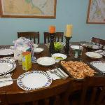  Dining room table seats 8 comfortably