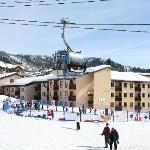 view of The Ptarmigan Inn from ski area base at the gondola entrance