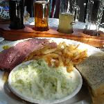  smoked meat with fries and coleslaw