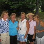 Fellow golfers after some wine and cheese head out to dinner