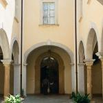 The entrance courtyard; the doorbell is on the left.