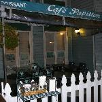 Exterior of Cafe Papillon--dining tables