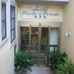 kinda blurry, the hotel entrance