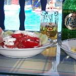  Rosa&#39;s greek salad by the pool...