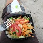 my picnic salad on the beach