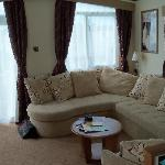 the lounge in our caravan