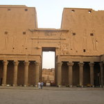 Inside the main courtyard at Edfu temple during sunset