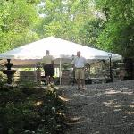 Rehearsal dinner tent at the ruins