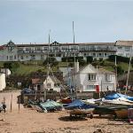 view of the Cottage Hotel from the beach