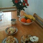 We enjoyed cooking breakfast in the full kitchen. We bought the flowers.