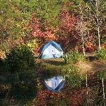Tent on the pond at Jenny's Creek