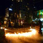 """burning fountain"" at night"
