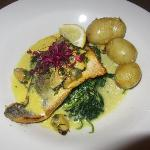 Sea Bass served on Wilted Spinach