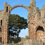 RUINS OF LINDISFARNE PRIORY, DATING FROM THE 11th CENTURY