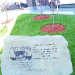 mysteriously vandalized memorial stone in front of hotel