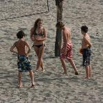 kids loved playing volleyball on beach