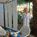 Your Host, Concetta & b/fast in her garden