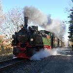  steam train , street running in town
