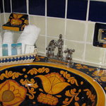 All our bathrooms have hand painted sinks, toilets, and accessories in gorgeous Mexican folk art