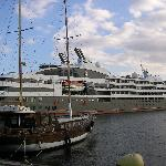 Cruise liner in Old Nessebar harbour
