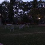 Green lawn with outdoor dinner