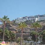 View of the apartment from the beach at the bottom of the hill