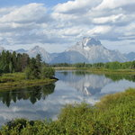 Beautiful Snake River with reflection of Mount Moran and Skillet Glacier