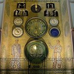 Olomouc astronomical clock by night; notice the illuminated indicator for the phase of the moon
