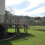  The garden, deck and view at Tan Y Allt.