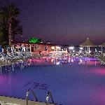 One of the 4 pools at night (the hotel also has 2 small water parks)