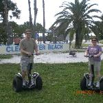 Standing easily on Segways at Clearwater Beach