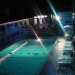 front ,pool at nite