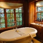 tub in master bath in Chalet Cottage set in beautiful window nook